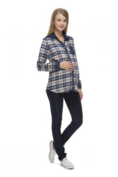 """Рубашка """"Джанет"""" сине-бежевая для беременных"""