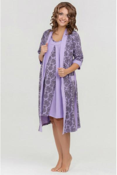 Халат Nataly фиолетовый для беременных