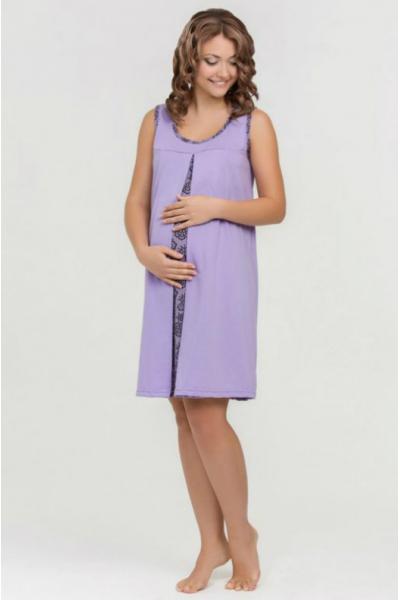 Сорочка Nataly фиолетовая для беременных и кормящих
