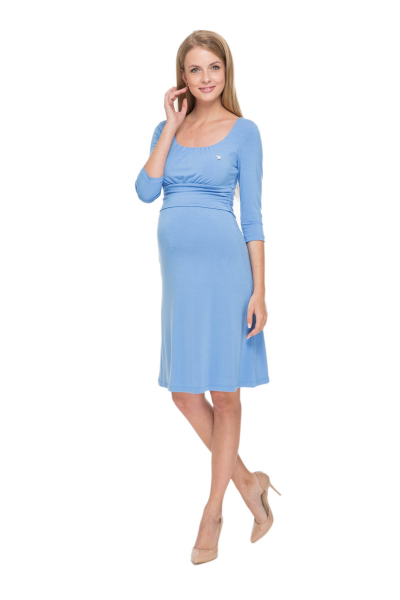 Платье голубое для беременных и кормящих