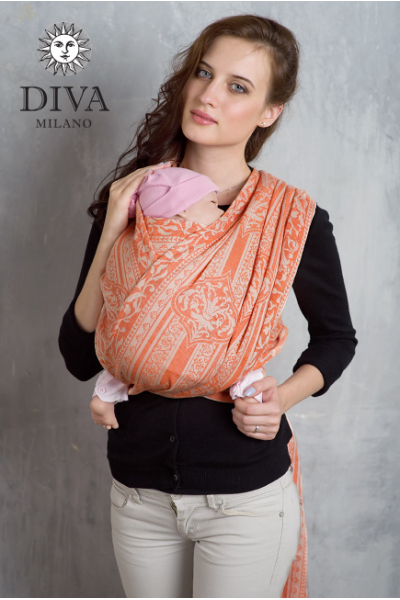 Слинг-шарф Diva Milano Flora Arancio со льном